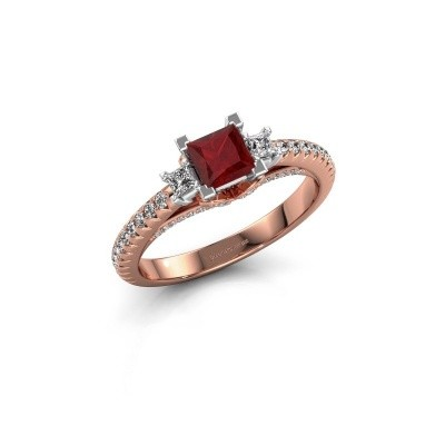Verlovingsring Valentina 585 rosé goud robijn 4.25 mm