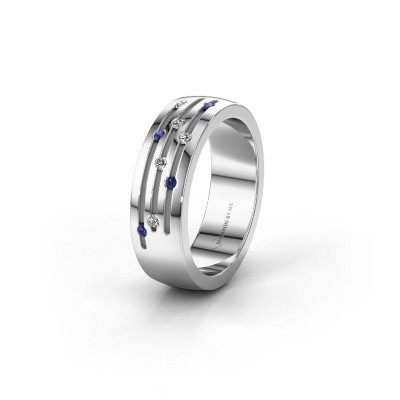 Wedding ring WH0134L26B 925 silver sapphire ±6x2 mm