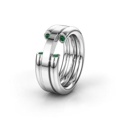 Trouwring WH6018L 950 platina smaragd ±8x3 mm