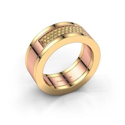 Foto van Ring Marita 1 585 rosé goud gele saffier 1.1 mm