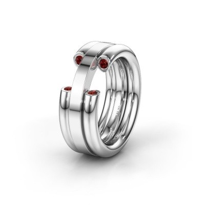 Wedding ring WH6018L 950 platinum garnet ±8x3 mm