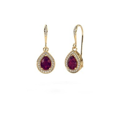 Picture of Drop earrings Beverlee 2 750 gold rhodolite 7x5 mm