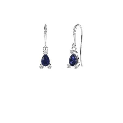 Drop earrings Bunny 2 375 white gold sapphire 7x5 mm