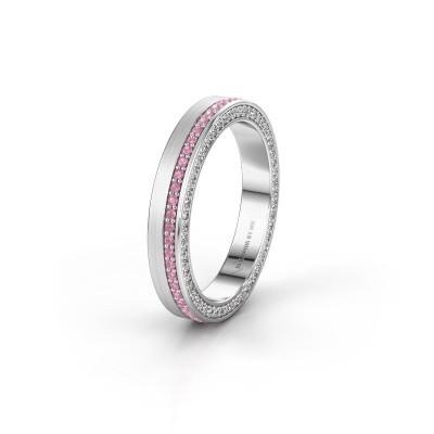 Wedding ring WH2214L15BM 585 white gold pink sapphire 1 mm ±5x2 mm