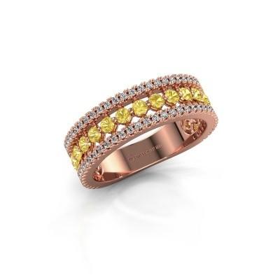 Verlovingsring Elizbeth 1 375 rosé goud gele saffier 2 mm