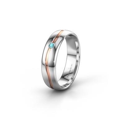 Wedding ring WH0905L35X 585 white gold blue topaz ±0.20x0.07 in