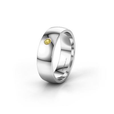 Picture of Wedding ring WH0101L26AP 950 platinum yellow sapphire ±6x1.4 mm