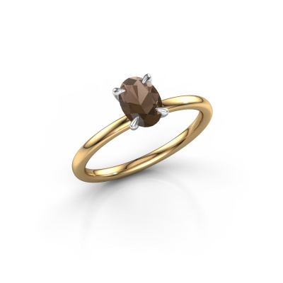 Picture of Engagement ring Crystal OVL 1 585 gold smokey quartz 7x5 mm