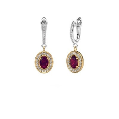 Picture of Drop earrings Layne 2 585 gold rhodolite 7x5 mm