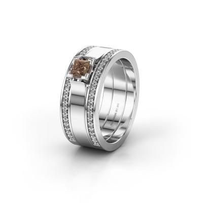 Trouwring WH2121L 585 witgoud bruine diamant ±8x1.7 mm