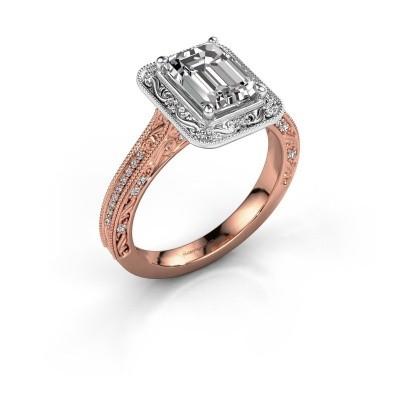 Verlovings ring Alice EME 585 rosé goud zirkonia 7x5 mm