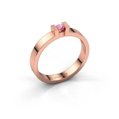 Verlovingsring Lieve 1 375 rosé goud roze saffier 3 mm