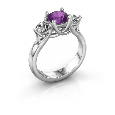 Engagement ring Esila 925 silver amethyst 6.5 mm