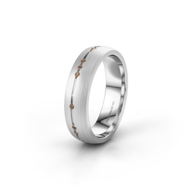 Wedding ring WH0166L25A 585 white gold brown diamond ±0.20x0.07 in