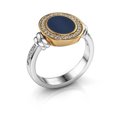 Signet ring Bailey 585 white gold dark blue sardonyx 10x8 mm