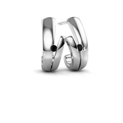 Oorbellen Shela 925 zilver zwarte diamant 0.072 crt