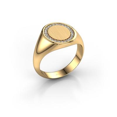 Foto van Heren ring Floris Oval 3 585 goud zirkonia 1.2 mm