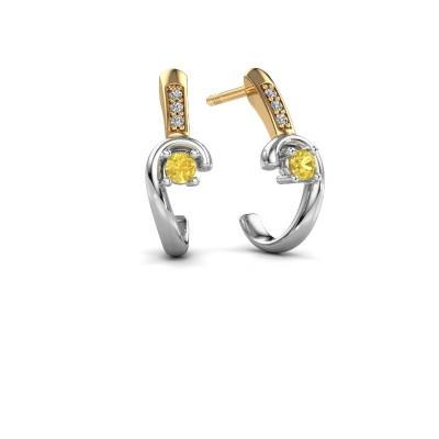 Earrings Ceylin 585 white gold yellow sapphire 2.5 mm