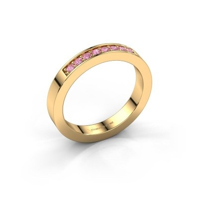 Stackable ring Loes 5 585 gold pink sapphire 1.7 mm