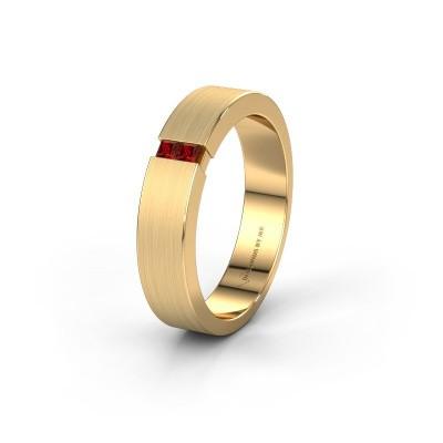 Wedding ring WH2136M15E 375 gold garnet ±5x2.4 mm