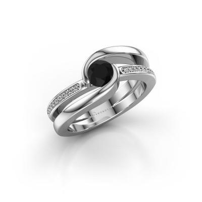 Foto van Ring Xenia 2 375 witgoud zwarte diamant 0.70 crt