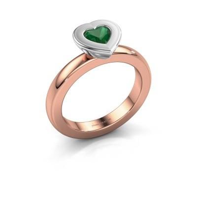 Stapelring Eloise Heart 585 rosé goud smaragd 5 mm