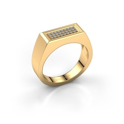 Men's ring Dree 6 375 gold zirconia 1.1 mm