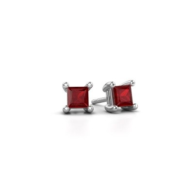 Picture of Stud earrings Sam square 585 white gold ruby 4 mm