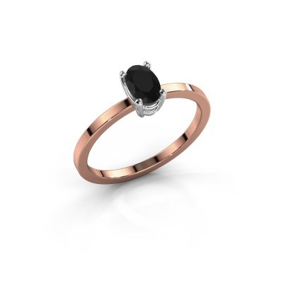 Foto van Ring Lynelle 1 585 rosé goud zwarte diamant 0.60 crt