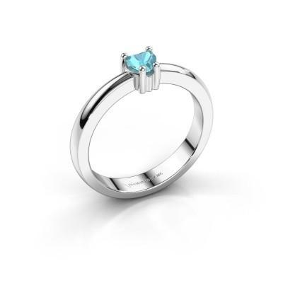 Foto van Aanzoeksring Florentina heart 585 witgoud blauw topaas 4 mm