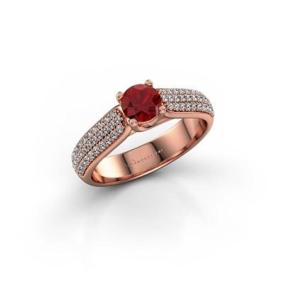 Foto van Verlovingsring Leoness 375 rosé goud robijn 5 mm