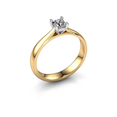 Bague de fiançailles Sam Square 585 or jaune diamant 0.25 crt
