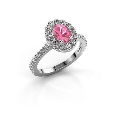 Foto van Verlovingsring Jorinda 2 585 witgoud roze saffier 7x5 mm