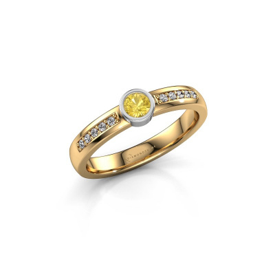 Engagement ring Ise 2 585 gold yellow sapphire 3.7 mm