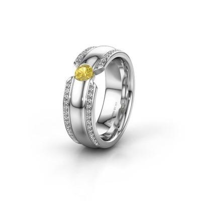 Wedding ring WHR0575L 950 platinum yellow sapphire ±7x2 mm