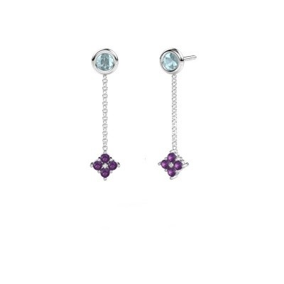 Picture of Drop earrings Ardith 950 platinum amethyst 2 mm