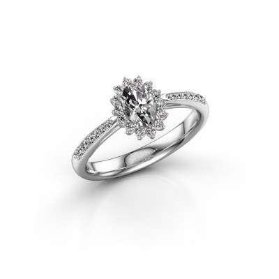 Engagement ring Tilly ovl 2 585 white gold zirconia 6x4 mm