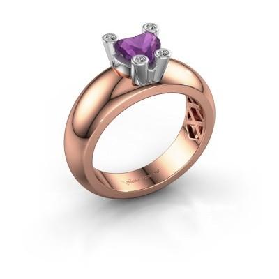 Foto van Ring Cornelia Heart 585 rosé goud amethist 6 mm