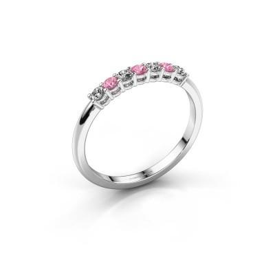 Foto van Verlovings ring Michelle 7 585 witgoud roze saffier 2 mm