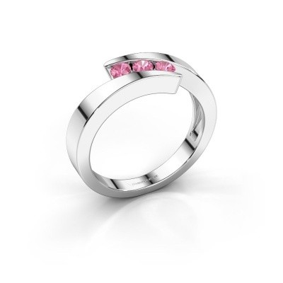 Foto van Ring Gracia 585 witgoud roze saffier 2.7 mm