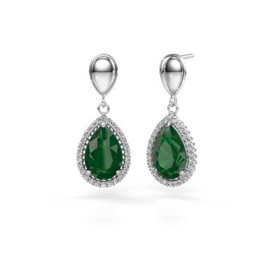 Picture of Drop earrings Tilly per 1 950 platinum emerald 12x8 mm