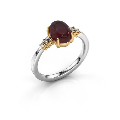 Ring Jelke 585 white gold garnet 8x6 mm