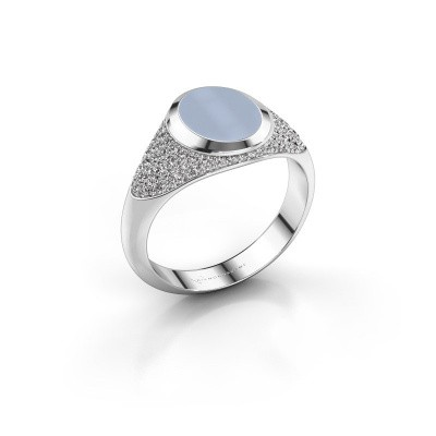 Signet ring Susana 950 platinum light blue sardonyx 10x8 mm