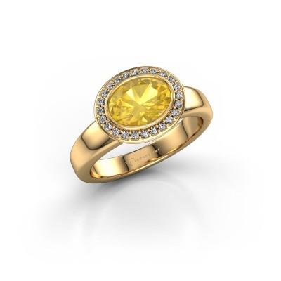 Foto van Ring Salena 585 goud gele saffier 8x6 mm