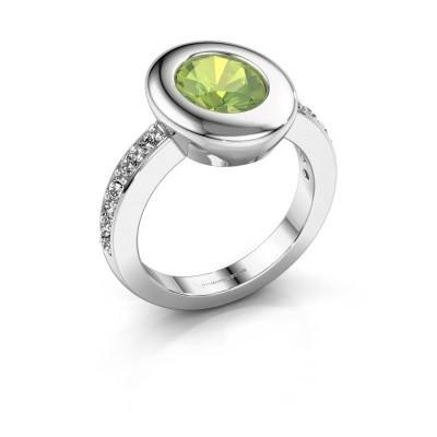 Ring Selene 2 585 white gold peridot 9x7 mm