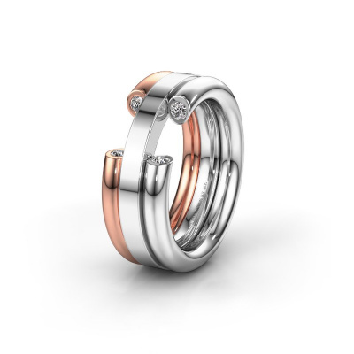 Ehering WH6018L 585 Weißgold Diamant ±8x3 mm