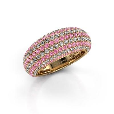 Foto van Ring Lyndia 375 goud roze saffier 0.8 mm