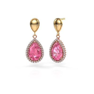 Drop earrings Tilly per 1 585 rose gold pink sapphire 12x8 mm