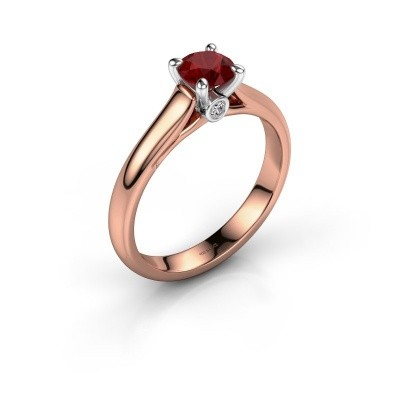 Verlovingsring Valorie 1 585 rosé goud robijn 5 mm