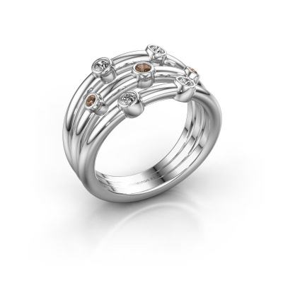 Bague Chloe 585 or blanc diamant brun 0.18 crt
